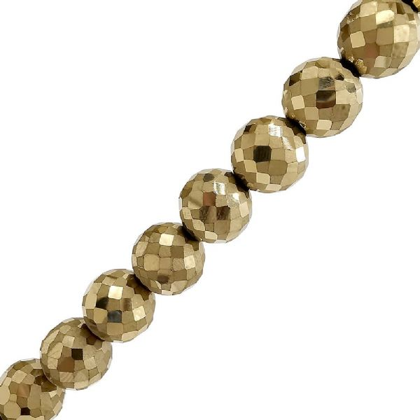 Metallic Gold Glass Faceted Round Beads 10mm x 72pcs